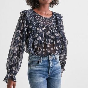Lucky Brand Floral Print Ruffle Top